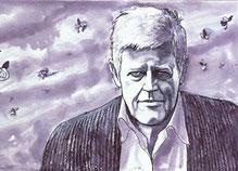 ritratto di Hugo Pratt realizzato da Milo Manara
