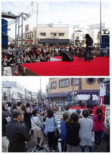 ステージで熱唱する田中昌之さんと浜町交差点一帯を埋め尽くす観客の皆さん
