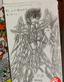 Dibujo autografiado enviado por Kurumada vía fax al programa