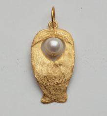 Anhänger Schutzengel aus Naturform mit Perle