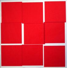 Véra Molnar, Neuf carrés rouges, 1990, sérigraphie, collection artothèque du musée des beaux-arts de Brest métropole.  © ADAGP, Paris, 2016.