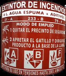 Etiqueta de características de un extintor de agua