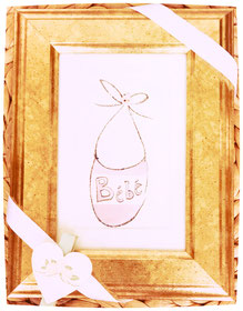 bebe birth card baby girl with frame