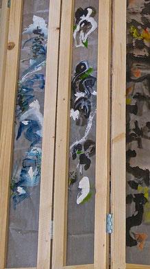 Eckregal Falttüre: Rahmen Fichte, Einsätze: Tusche und Aquarell auf Papier gewachst. Foto: VN Jaeger, 2015 ❘ © VN Jaeger 2015