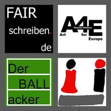 Das Logo von FAIRschreiben.de, Art for Europe, Der BALLacker und vom Ü jeweils einzeln grau gerahmt in einem Bild.