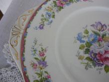 Vintage Kuchenplatten aus feinem englischen Porzellan
