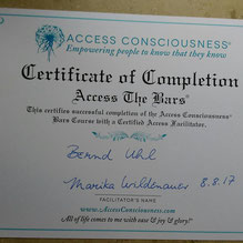 ACCESS CONSCIOUSNESS certificate