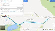 Der Weg von Rundu nach Oshakati für am Etosha Nationalpark vorbei.