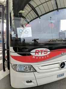 Shuttlebus vom Flughafen Nizza zum Hotel in Monaco - nur echt mit den Olympischen Ringen