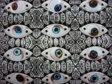 Detail aus dem Quilt: Überwachungsstaat. Teilnahme bei der 5.Europäischen Quilttriennale der Textilsammlung Max Berk des Kurpfälzischen Museeums Heidelberg