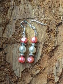 Perlen Ohrringe mit rosa Zuchtperlen, Metallrondellen und weisser Glanzperle