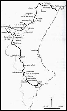 Mapa de reino de Valencia.
