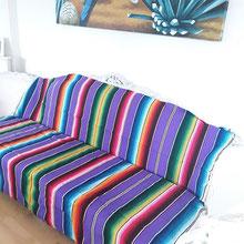 Boho-decken, sarape, Ethno-Bettüberwurf, Decken aus Mexiko, Sofadecke mit Streifen, Mexikodecke, Bohostil, Frida Kahlo