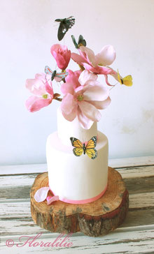 Magnolia Butterfly Cake by Floralilie