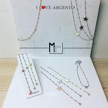 Bracciali e collane in argento con stelle nei tre colori