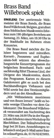 Brass Band Willebroek Galakonzert 190 jähriges Jubiläum Städt. Musikverein Erkelenz