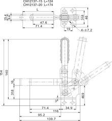 Zeichnung Senkrechtspanner Vertikalspanner mit waagrechtem Fuß CH-12130 CH-12135