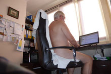 The benefit of a home office is the freedom to be naked