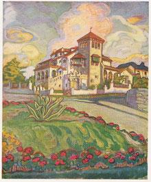 maison coloniale Mar Del Plata - Argentine huile sur toile André Aaron Blils