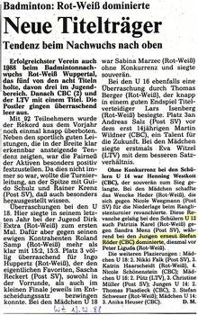 WZ vom 13.02.1988 Wuppertaler Stadtmeisterschaften Jugend Einzel