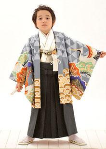 No.5-29青海波に鶴 オフ白5歳着物連レンタル