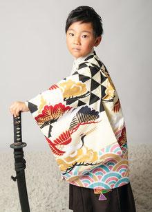 5-28青海波に鶴 オフ白5歳着物連レンタル