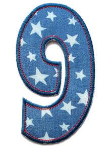 Bild: Geburtstagszahl 9, Zahl Applikation Aufbügler als Geschenk zum 9. Geburtstag