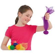 Jeu de 6 balles foulard à lancer pour les activités de gymnastique rythmique. Lot de 6 balles foulard à acheter pas cher et de qualité.