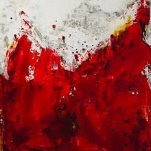Abstraktes Rot, Acryl auf Leinwand, JULIA! Neulinger-Kahl