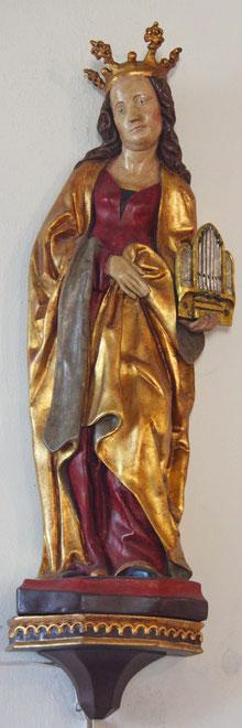 Heilige Cäcilia (Patronin der Kirchenmusik), Statue in der Pfarrkirche St. Martin Wiltingen
