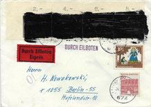 Postkrieg mit 4-mal 20 Jahre Vertreibung-Marke geschwärzt