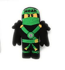 Formkissen Ninja Ninjago mit Namen personalisiert, grün. Ninja Loyd