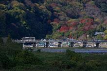京都市秋の嵐山渡月橋風景上大迫博撮影