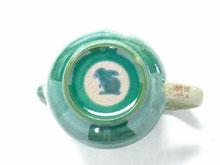 九谷焼【ティーポット・急須】大 白兎ソメイヨシノ緑塗り【裏絵】