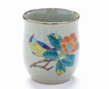 九谷焼 お湯呑 椿に鳥