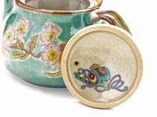 九谷焼通販 急須 茶器 ポット 大 ソメイヨシノ緑塗り 裏絵 蓋裏の図