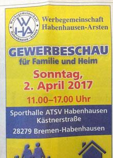 Werbeanzeige zur 1. Gewerbeschau der Werbegemeinschaft Habenhausen-Arsten am 02.04.2017
