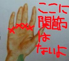 間違った指の関節を示した画像