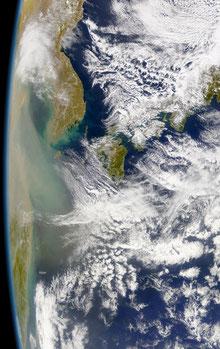 Kosa blowing over the East China Sea from the mainland China. ©NASA