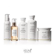Die neue weiße CARE Systemhaarpflege von KEUNE, Haarkur, Treatment, Haarmaske, Packung , Shampoo