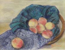 桃と布  パステル6号