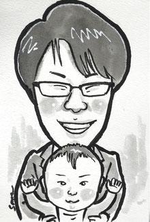 手描きのモノクロ似顔絵 お父さんと赤ちゃん