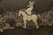 Voltigieren!! Radierung von Francisco de Goya (1746-1828), aus dem Zyklus Los Disparantes (Torheiten), hier: Präzise Torheit, entstanden 1815-1819.