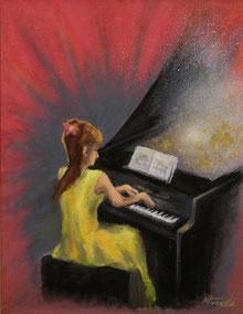 ピアノ演奏風景(油彩・F6)