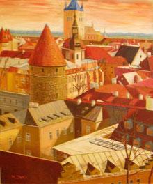 エストニア・タリン風景            ( 油彩・F30 )