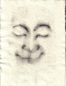 """""""Cara feliz 013"""" 29,6x21,5cm  grafito al agua sobre papel de arroz. 2013"""