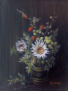 Nr.664 Silberdisteln+Hagebutten in Vase