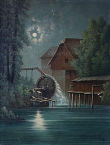 Nr.1366;  Grosse Wassermühle in Oberschlesien bei Vollmond