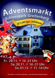 Plakat des Adventsmarkt im Schlosspark Greifenberg 2019