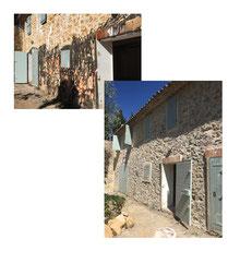 micro sablage de la pienture sur façade enduit et pierre
